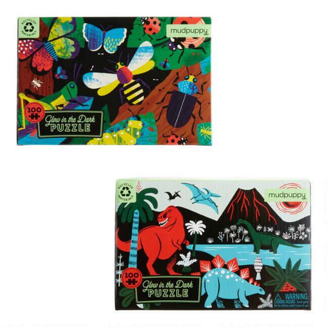 Mudpuppy Insect & Dino Glow in the Dark Puzzles Set of 2