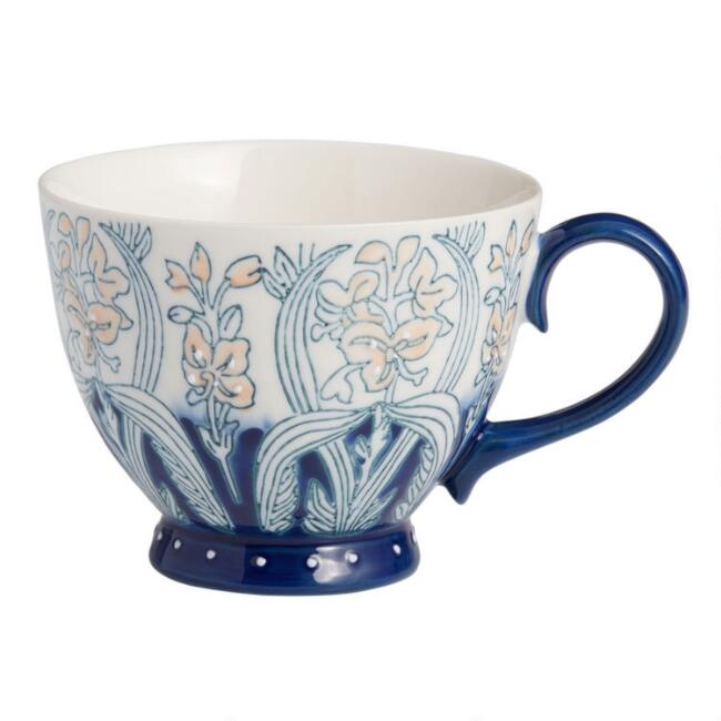 Blue and Blush Hand Painted Floral Mug
