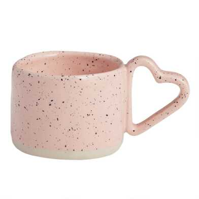 Pink Reactive Glaze Heart Handle Mug