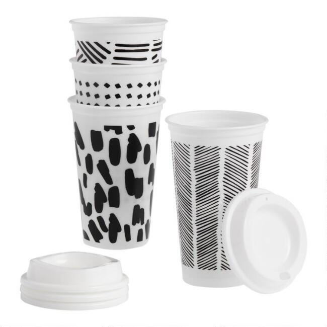 Black and White Geo Travel Not a Paper Cup 4 Pack