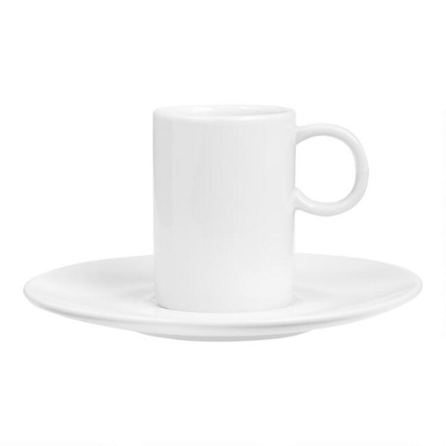 White Porcelain Coupe Espresso Cups and Saucers Set of 6