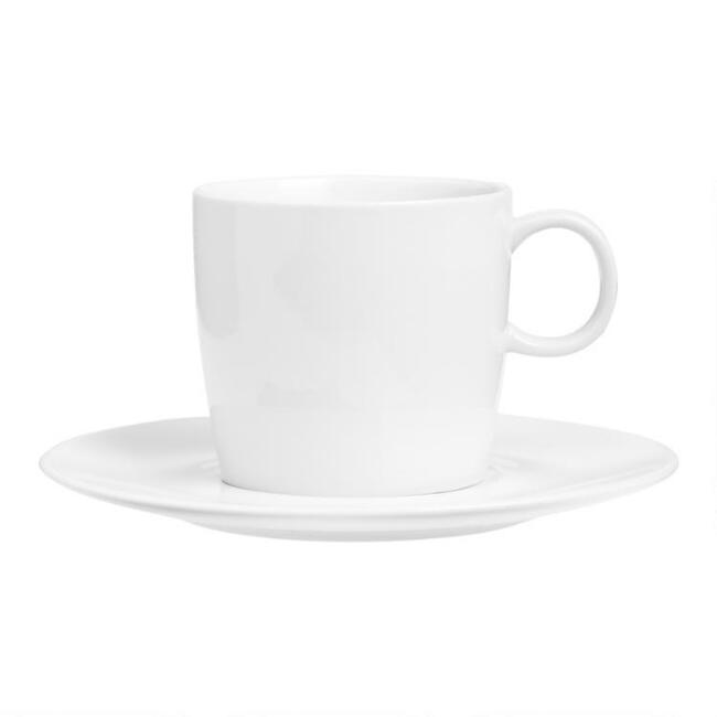 White Porcelain Coupe Teacups and Saucers Set of 4