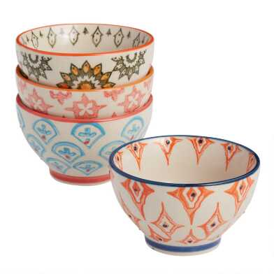 Pad Print Rice Bowls Set of 4