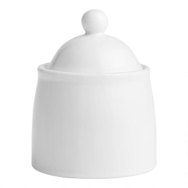 White Porcelain Coupe Sugar Bowl with Lid