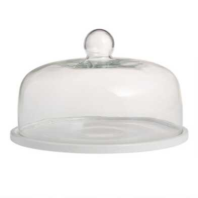 White Porcelain Coupe Cake Plate with Cloche