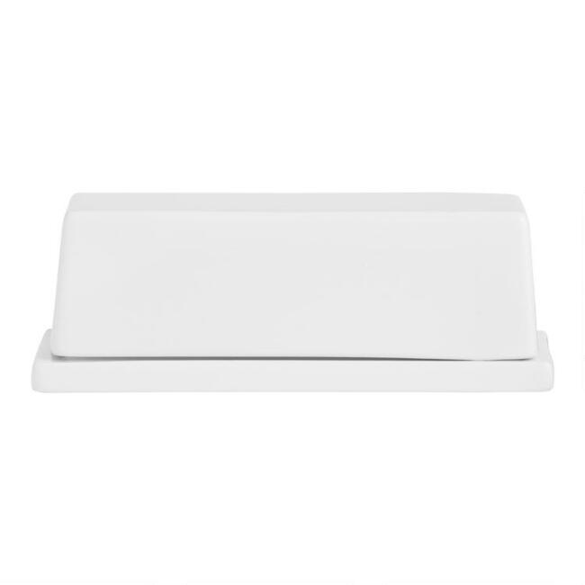 White Porcelain Coupe Covered Butter Dish