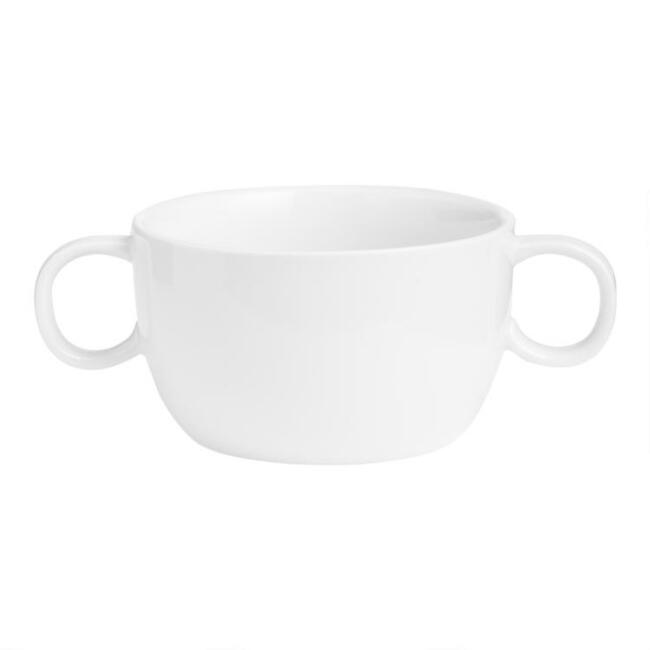 White Porcelain Coupe Soup Bowl with Handles Set of 2