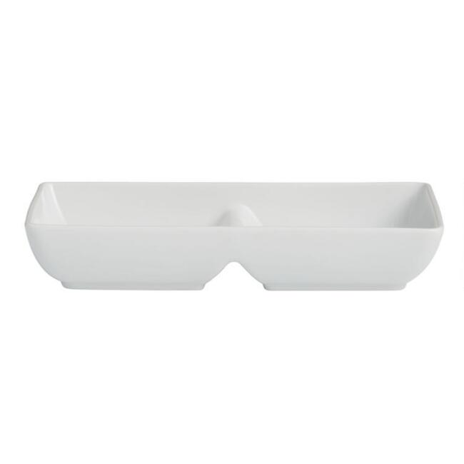White Porcelain Coupe Divided Snack Platter Set of 4