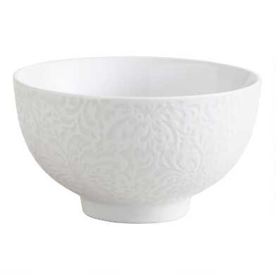White Porcelain Floral Rice Bowls Set Of 4