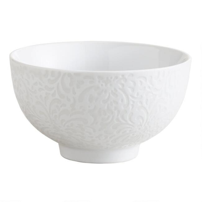 Floral Border Sushi Rice Bowls, Set of 4