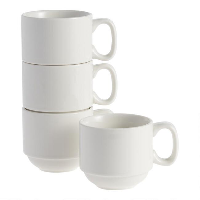 Natural White Porcelain Stacked 4 Piece Mug Set