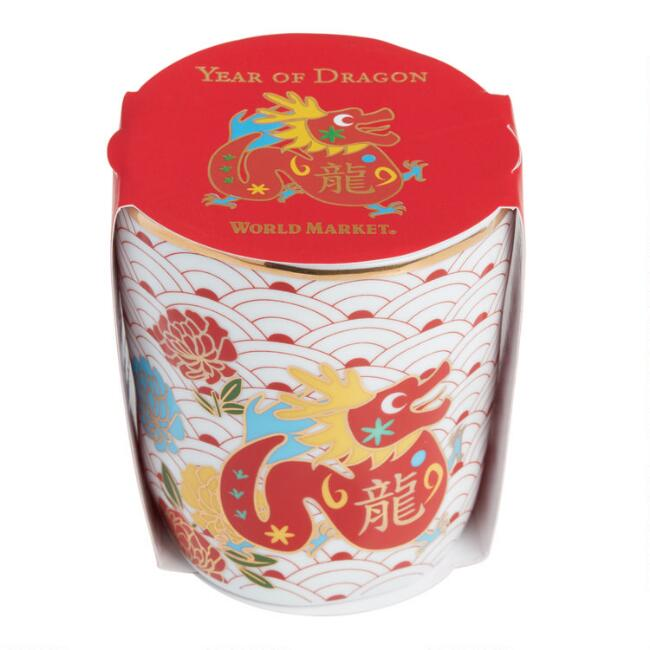 Lunar New Year Dragon Porcelain Tea Cup Set of 4