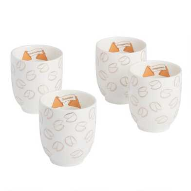 Fortune Cookie Tea Cup Set of 4