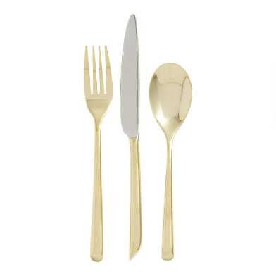 Gold Wave Flatware 3 Piece Boxed Set