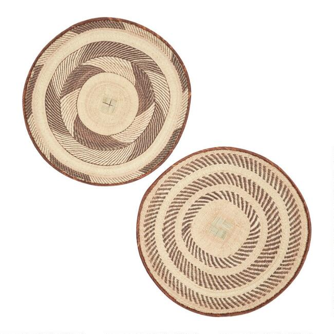 Large Natural Palm Leaf Tongan Basket Wall Decor Set Of 2