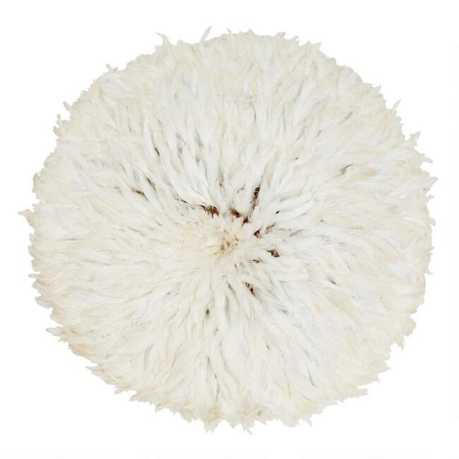 White Natural Feather Juju Hat Wall Decor