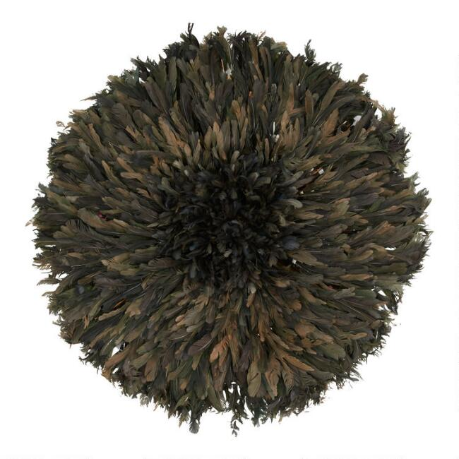 Black And Brown Natural Feather Juju Hat Wall Decor