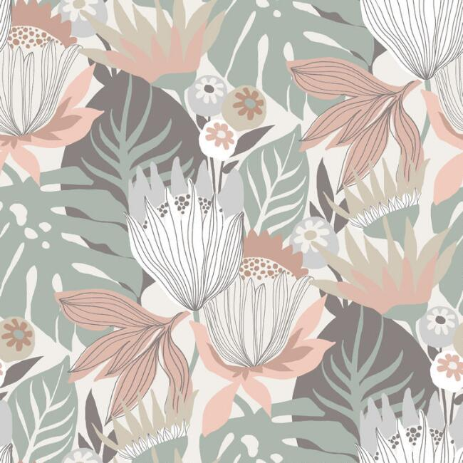 Muted Multicolor Floral Tropics Peel And Stick Wallpaper