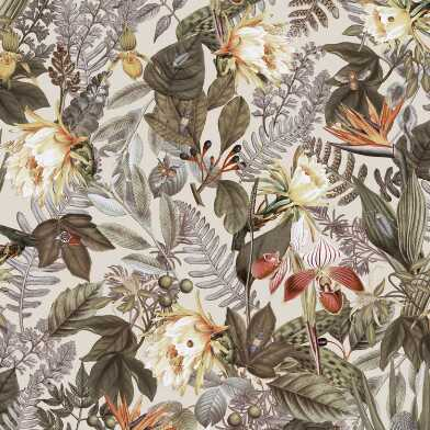 Ivory Tropical Flowers Peel And Stick Wallpaper