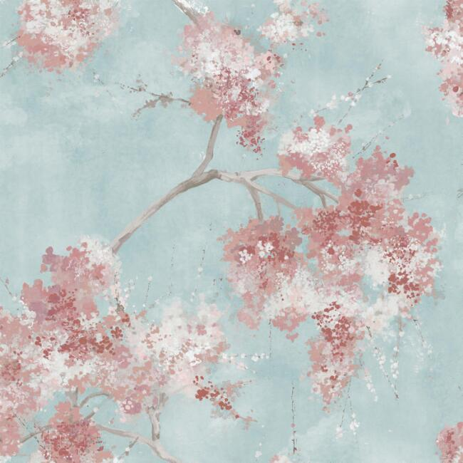 Pink And Blue Cherry Tree Peel And Stick Wallpaper World Market