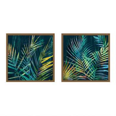 Teal Palms I & II By Natalie Adams Framed Wall Art 2 Piece