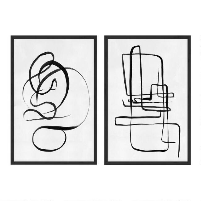 Scribble I & II Abstract Framed Canvas Wall Art 2 Piece