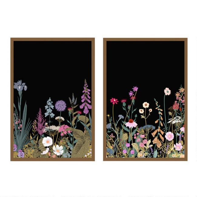 Simple Wildflowers I & II Framed Canvas Wall Art 2 Piece