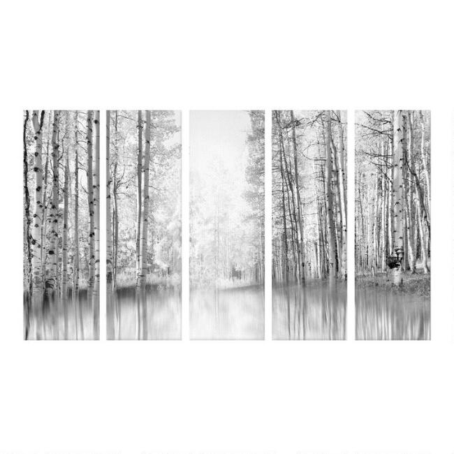 Aspen Reflection I-V Canvas Wall Art 5 Piece