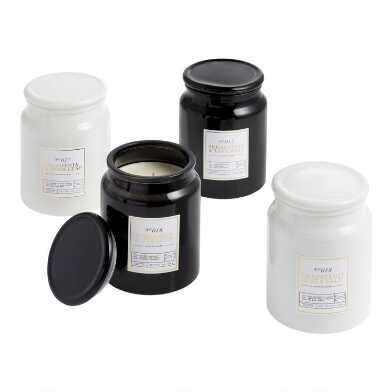 Tall Black and White Filled Jar Candle Collection