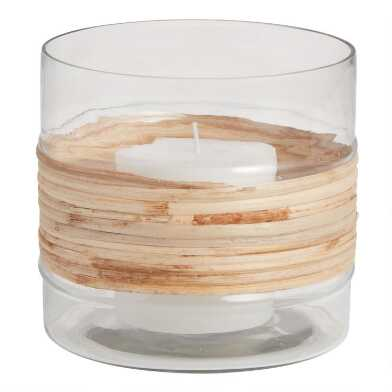 Natural Cane Wrapped Hurricane Candleholder