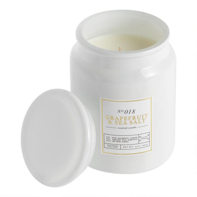 Tall White Grapefruit Filled Jar Candle