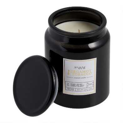 Tall Black Bergamot Tobacco Filled Jar Candle