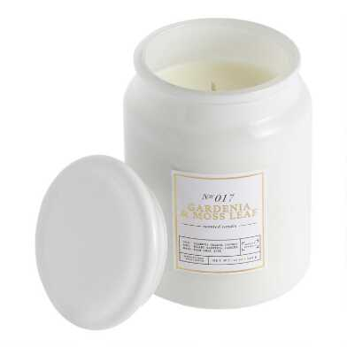 Tall White Gardenia and Moss Filled Jar Candle