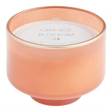 Coral Orange Blossom Footed Filled Jar Candle