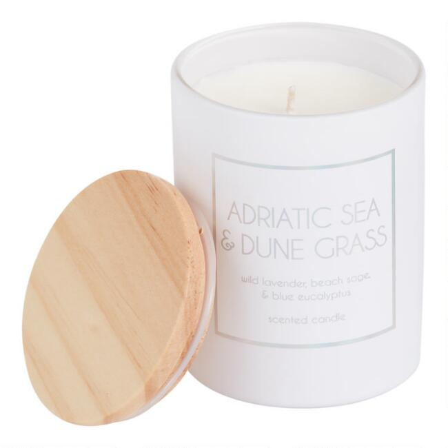 White Holographic Adriatic Sea Dune Grass Filled Jar Candle