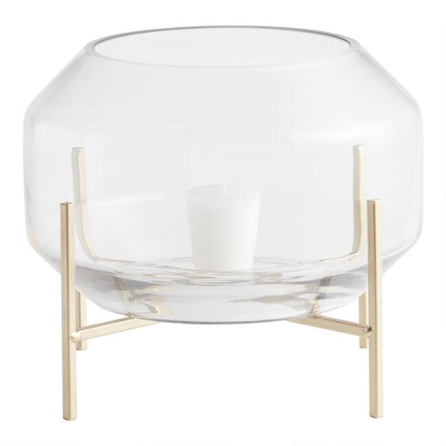 Clear Glass Hurricane Candleholder with Gold Metal Stand
