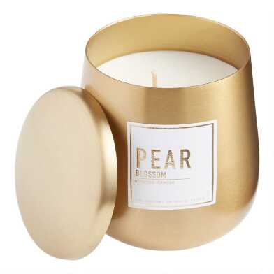 Gold Metal Sweet Pear Filled Candle