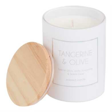 White Holographic Tangerine and Olive Filled Jar Candle
