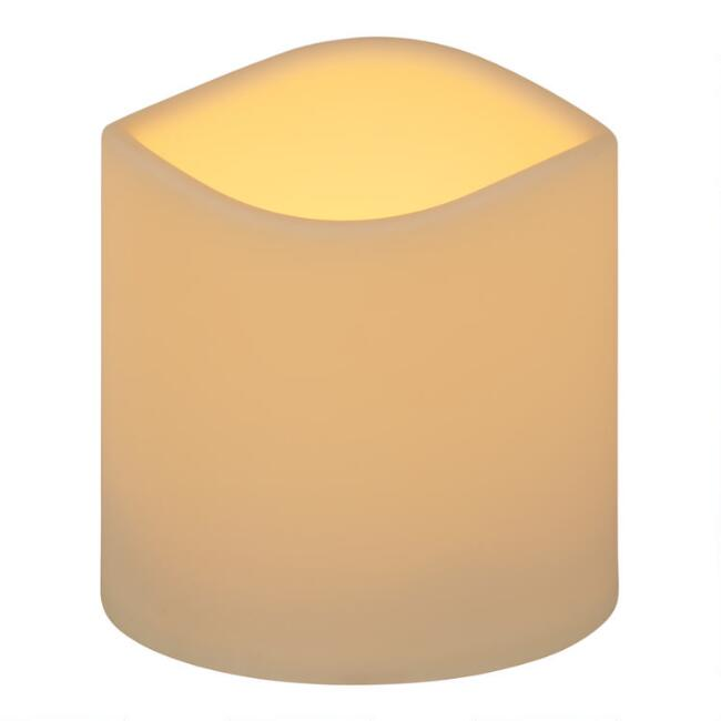 4x4 Ivory Soft Touch Flameless LED Pillar Candle