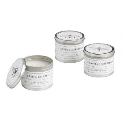 Bug and Butterfly Citronella Candle Tins Set of 3