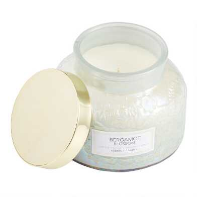 Bergamot Blossom Embossed Pearlescent Filled Jar Candle