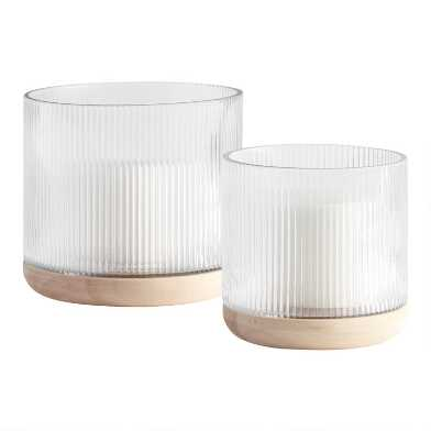 Clear Ribbed Glass Hurricane Candleholder with Wood Base
