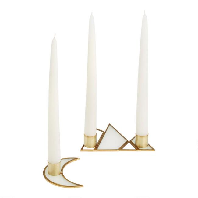 Iridescent Glass and Gold Trim Shaped Taper Candleholder