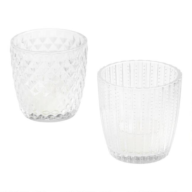 Clear Patterned Glass Tealight Candleholders Set of 2