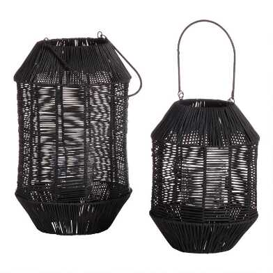 Black Faceted Rattan Lantern