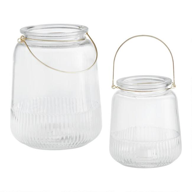 Ribbed Clear Glass Lantern with Gold Handle
