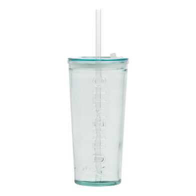 Recycled Spanish Glass To Go Tumbler with Straw