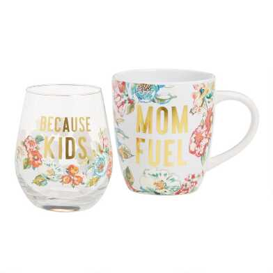 Mom Fuel Mug and Stemless Wine Glass 2 Piece Gift Set