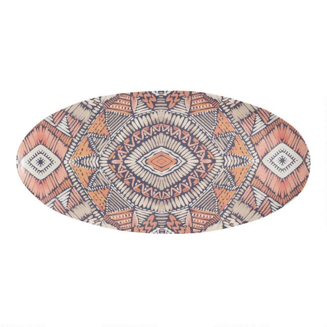 Oval Multicolor Sunburst Melamine Serving Platter