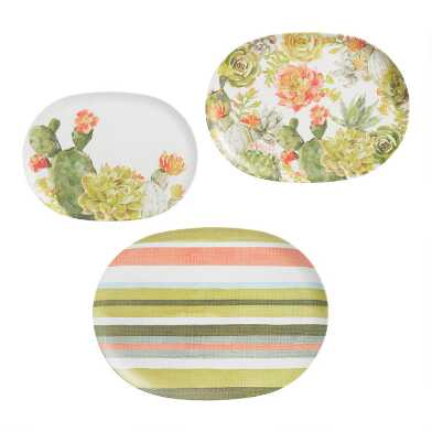 Cactus Melamine Serving Platters 3 Pack